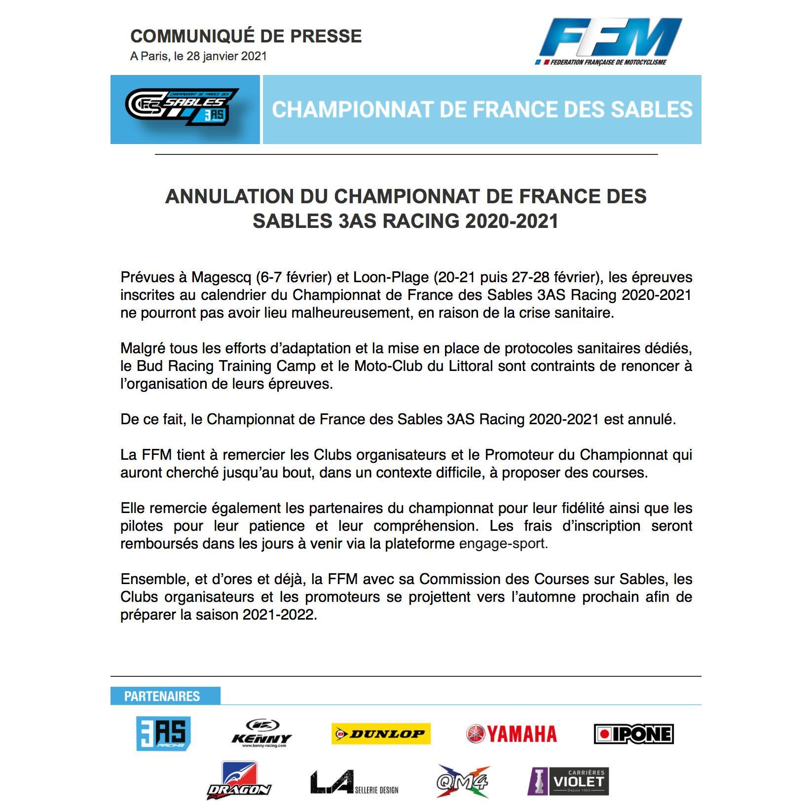 Championnat de France des sables 3AS racing a été annulé