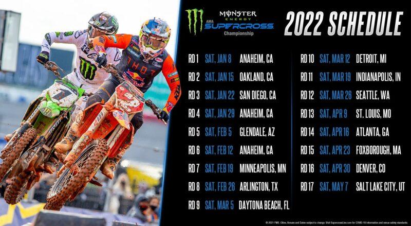 Calendrier Championnat Du Monde Motocross 2022 SX US : le calendrier 2022 revient à la normale   MX2K